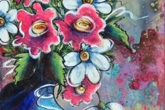 Fleurs au pot bleu