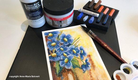 Mix média pastel sec sur fond d'aquarelle